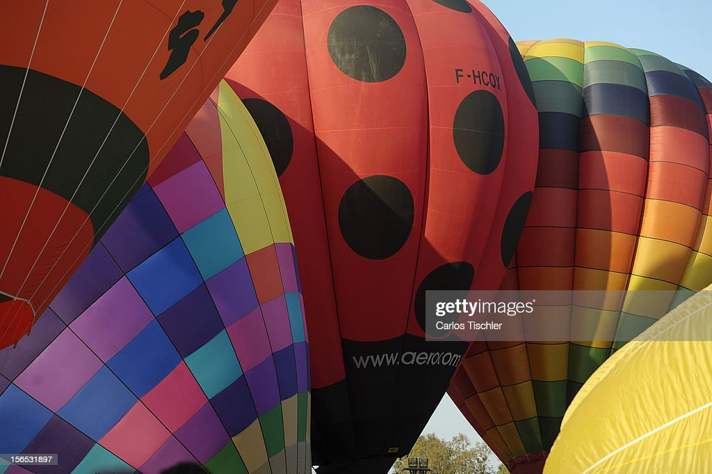 Detail of balloons during the opening day of the 11th edition of the International Balloon Festival 2012 with the participation of pilots from 14 countries and with over 1000 balloons of different shapes and colors, on November 16, 2012 in Leon, Mexico.