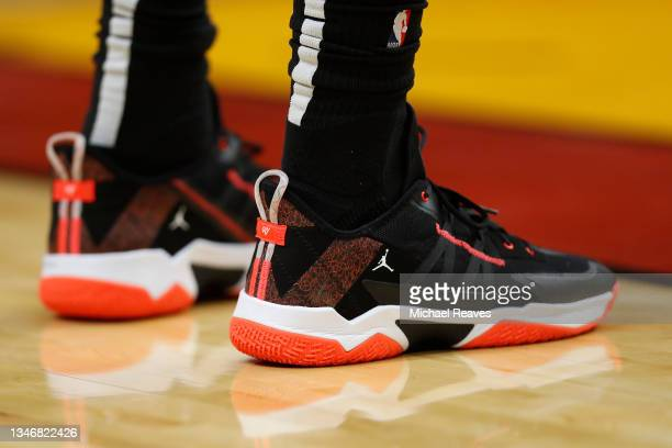 Detail of Bam Adebayo of the Miami Heat Jordan Brand shoes against the Boston Celtics during the first quarter of a preseason game at FTX Arena on...