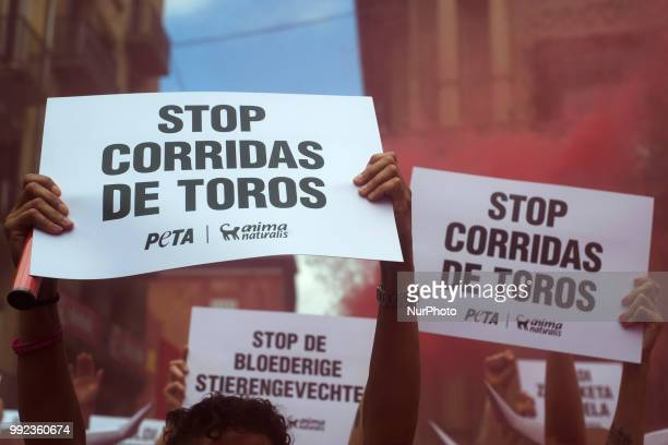 Detail of banners with the slogan quotStop bullfightingquot carried by members of the PETA collective during their protest in the Plaza del...