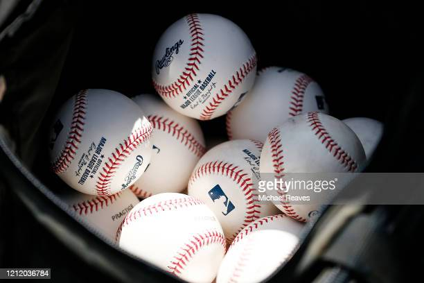 Detail of baseballs during a Grapefruit League spring training game between the Washington Nationals and the New York Yankees at FITTEAM Ballpark of...