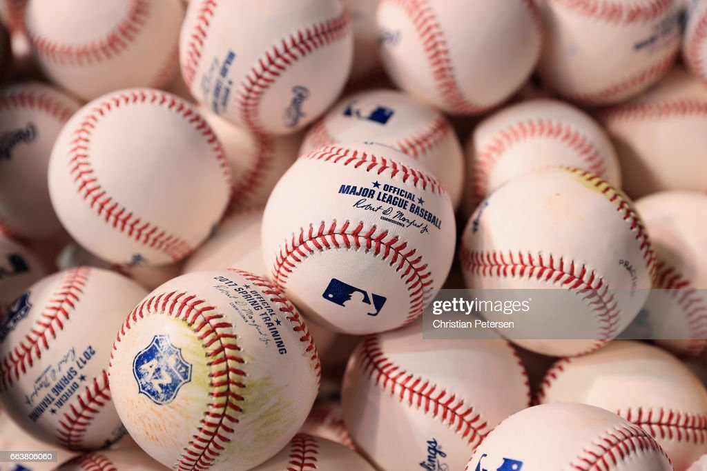 Detail of baseballs during batting practice to the MLB opening day game between the San Francisco Giants and the Arizona Diamondbacks at Chase Field on April 2, 2017 in Phoenix, Arizona.