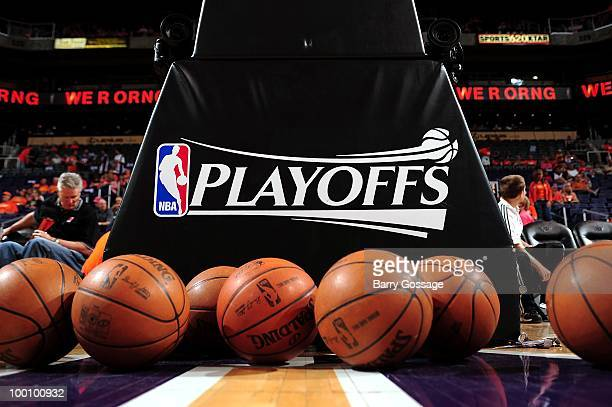 Detail of basketballs and the Playoff logo as the San Antonio Spurs take on the Phoenix Suns in Game Two of the Western Conference Semifinals during...