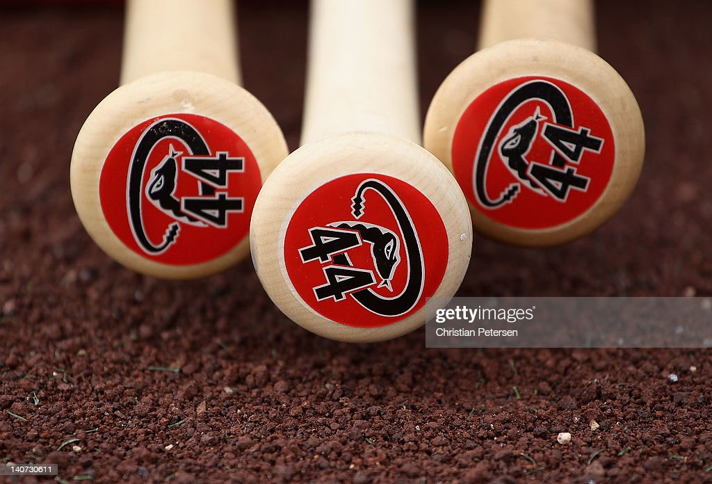 Detail of bat ends displaying the #44 of Paul Goldschmidt of the Arizona Diamondbacks during the spring training game against the Colorado Rockies at Salt River Fields at Talking Stick on March 5, 2012 in Scottsdale, Arizona.