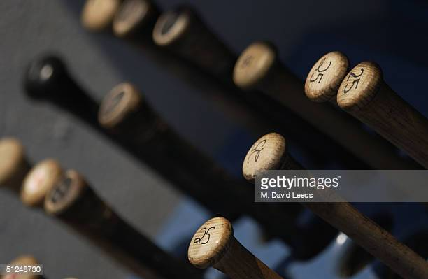 Detail of bats during the game between the Toronto Blue Jays and the New York Yankees at Yankee Stadium on August 9 2004 in the Bronx New York The...