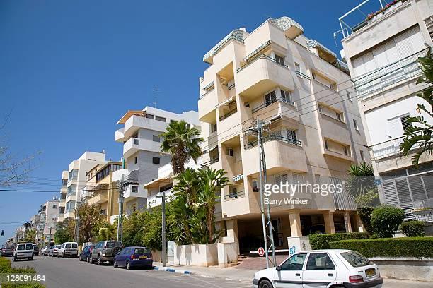 Detail of Bauhaus architecture on Sderot Nordau in Tel Aviv, Israel