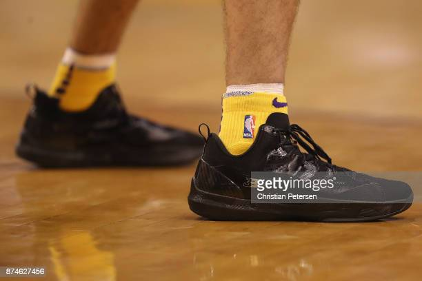 Detail of Big Baller Brand shoes worn by Lonzo Ball of the Los Angeles Lakers during the NBA game against the Phoenix Suns at Talking Stick Resort...