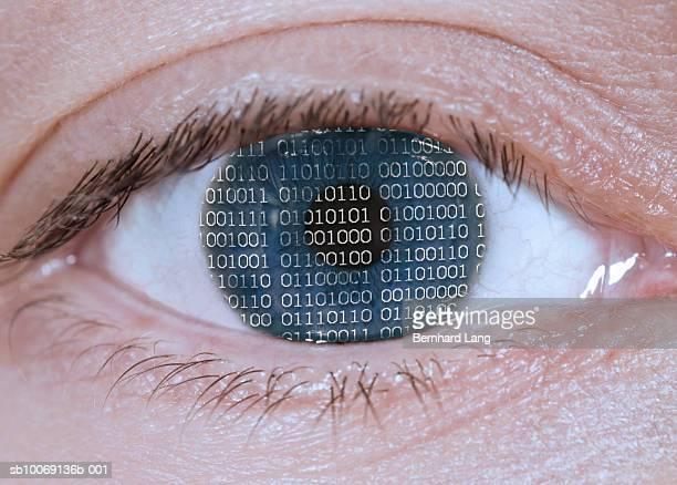 Detail of binary code lines on blue eye (digital composite)