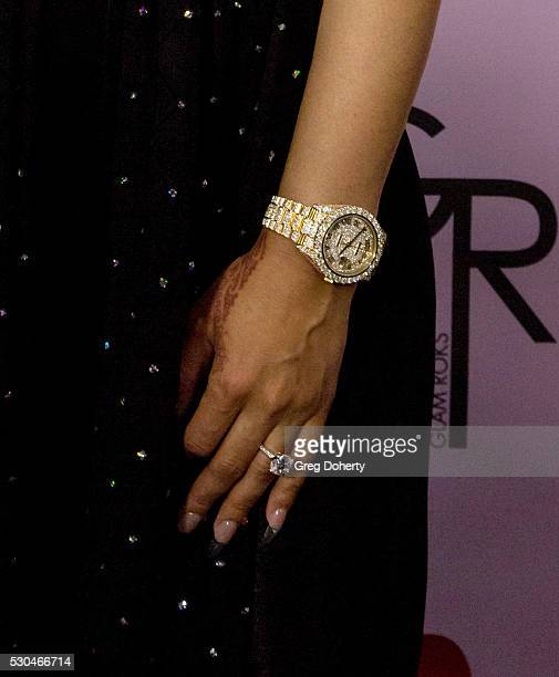 Detail of Blac Chyna's engagement ring as she arrives at her Blac Chyna Birthday Celebration And Unveiling Of Her 'Chymoji' Emoji Collection at the...