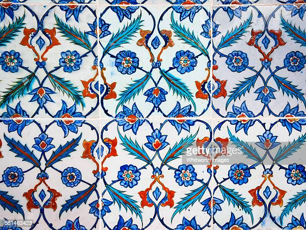 Detail of blue Ottoman Tiles Istanbul Turkey