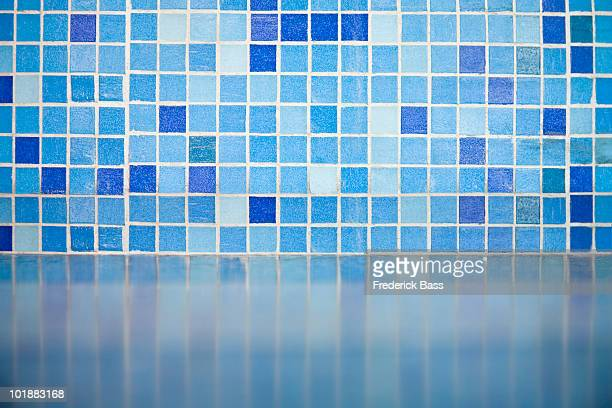 detail of blue tiles - mosaic stock photos and pictures