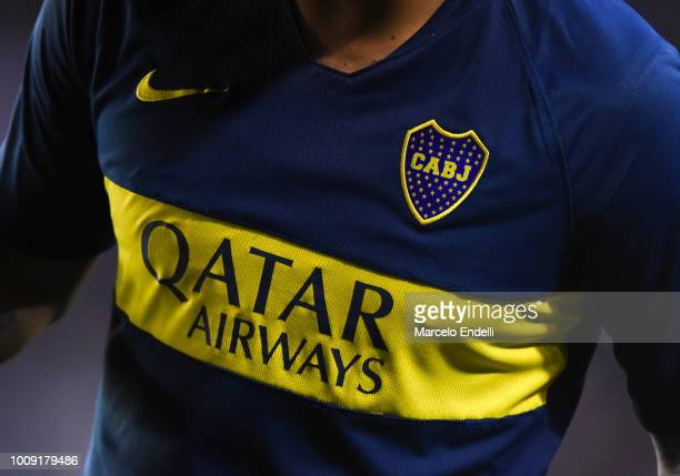 Detail of Boca Juniors jersey during a match between Boca Juniors and Alvarado as part of Round of 64 of Copa Argentina 2018 on August 1 2018 in...