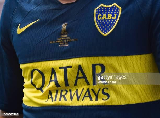 Detail of Boca Juniors jersey during the first leg match between Boca Juniors and River Plate as part of the Finals of Copa CONMEBOL Libertadores...