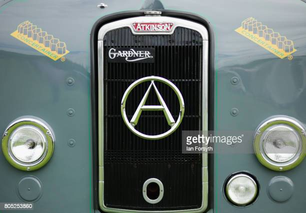 Detail of bonnett decal of a vintage truck during the Duncombe Park Steam Rally on July 1 2017 in Helmsley United Kingdom Held annually in the...