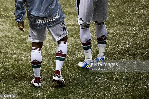Detail of boots during a match between Fluminense and Audax Rio as part of Carioca Championship 2013 at Engenhao Stadium on March 17, 2013 in Rio de...