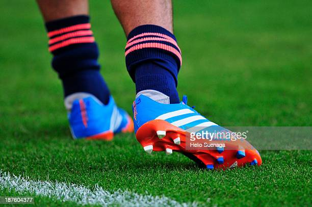 Detail of boots during the match between Corinthians and Fluminense for the Brazilian Series A 2013 on November 10 2013 in Araraquara Brazil