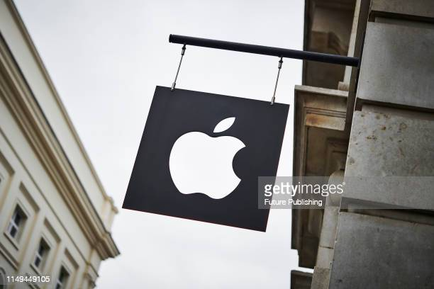 Detail of branding outside the Apple Store in Covent Garden in London with the Apple logo clearly visible taken on June 4 2019