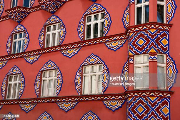 Detail of bright facade of the Cooperative Business Bank Building called Vurnik House architect Ivan Vurnik painted by wife Helena Ljubljana Slovenia