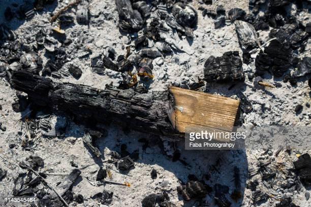 detail of burnt firewood - 灰 ストックフォトと画像