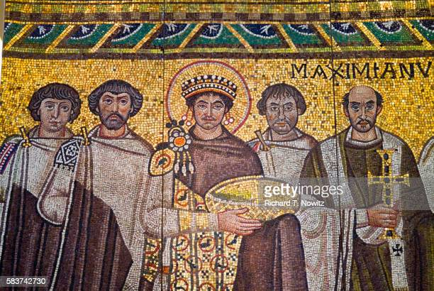 detail of byzantine mosaic of emperor justinian and his retinue - byzantine stock pictures, royalty-free photos & images