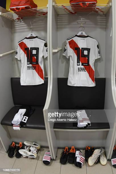Detail of Camilo Mayada and Rafael Santos Borre of River Plate jerseys in the dressing room before the first leg match between Boca Juniors and River...