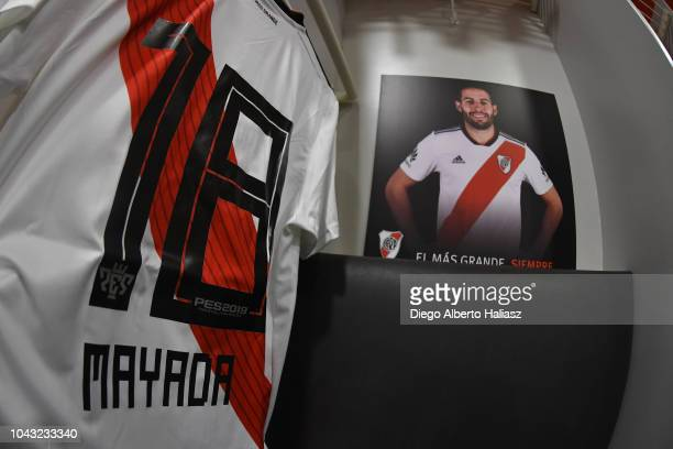Detail of Camilo Mayada of River Plate jersey in the visitor's dressing room prior to a match between Boca Juniors and River Plate as part of...