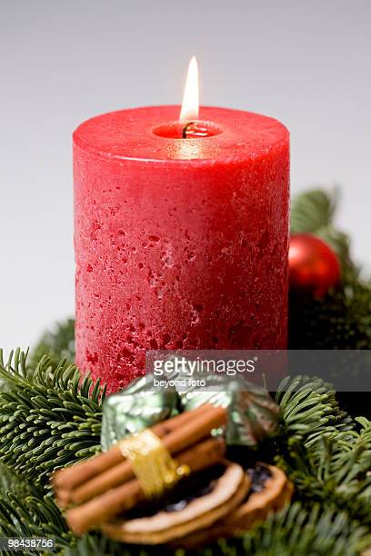 detail of candle on advent wreath