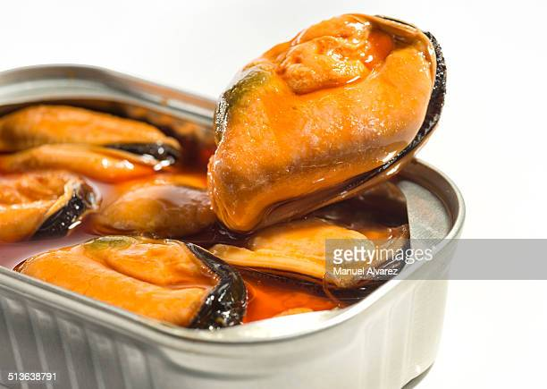 Detail of canned mussels
