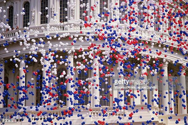 detail of capitol building with red, white, and blue balloons - house of representatives stock pictures, royalty-free photos & images