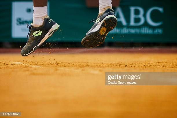 Detail of Carlos Alcaraz of Spain looks on during his round of 16 match against Pedro Martinez Portero of Spain on day 3 of ATP Sevilla Challenger at...