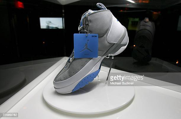 A detail of Carmelo Anthony's MELO M3 signature shoe at the Shag Hollywood on November16 2006 in Los Angeles California