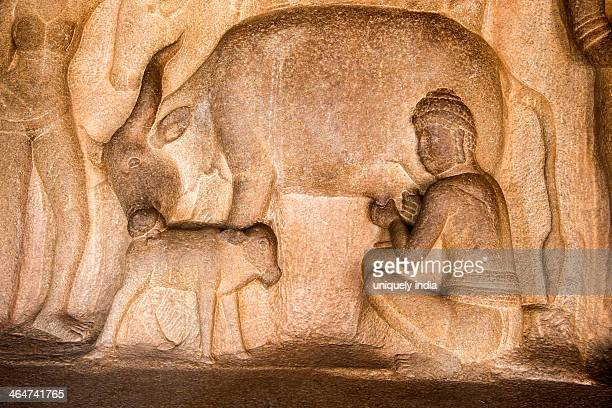 Detail of carving in Krishna Mandapa rock cut temple, Mahabalipuram, Kanchipuram District, Tamil Nadu, India