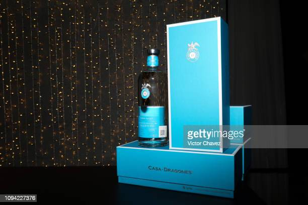 Detail of Casa Dragones Tequila during the amfAR gala dinner at the house of collector and museum patron Eugenio López on February 5 2019 in Mexico...