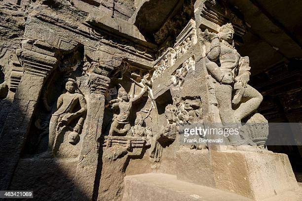 Detail of cave 16 the Kailashanatha Cave in the UNESCO World Heritage site Ellora All the temples are carved out of solid rock and represent the...