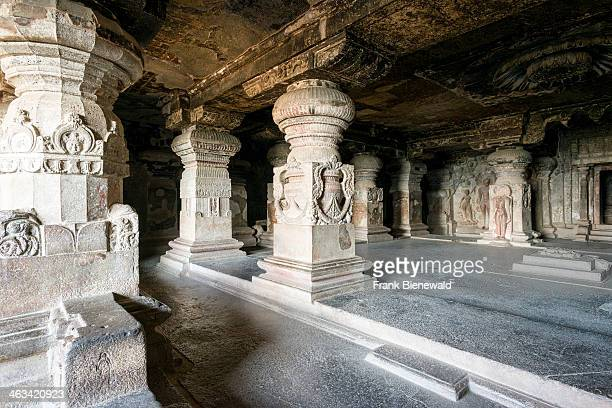 Detail of cave 32 the Indra Sabha Cave in the UNESCO World Heritage site Ellora All the temples are carved out of solid rock and represent the...