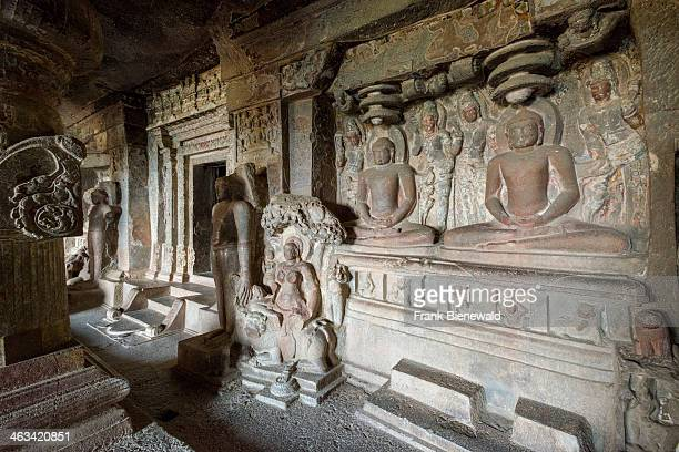Detail of cave 33 the Jagannath Sabha Cave in the UNESCO World Heritage site Ellora All the temples are carved out of solid rock and represent the...