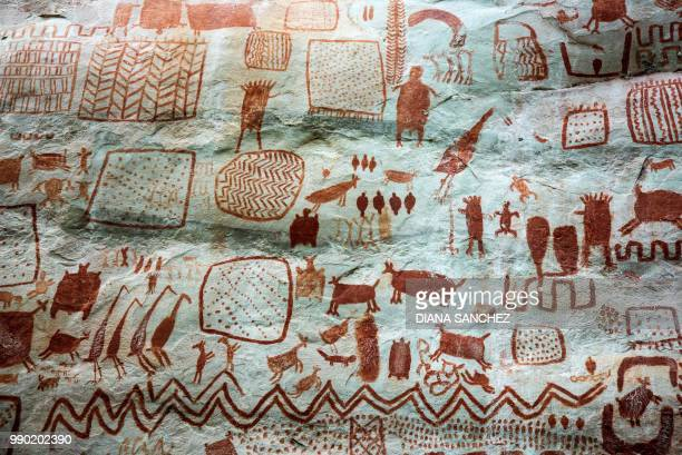Detail of cave art at the Cerro Azul in Serrania La Lindosa which had been declared Protected Archaeological Site of Colombia last Mayin the...