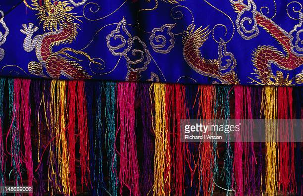 detail of ceremonial altar decoration used in the mani rimdu festival at chiwang gompa (monastery). - mani rimdu festival stock pictures, royalty-free photos & images