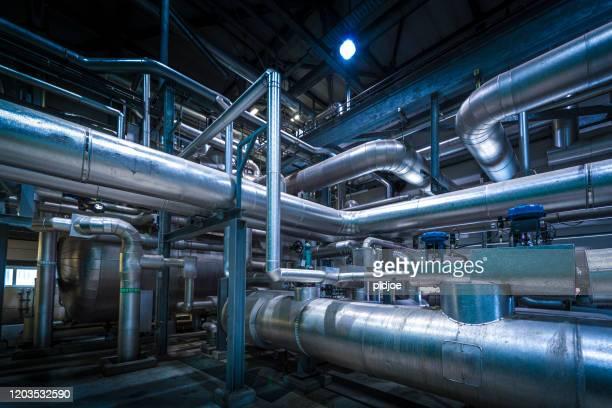 detalhe da planta química - edifício industrial - fotografias e filmes do acervo