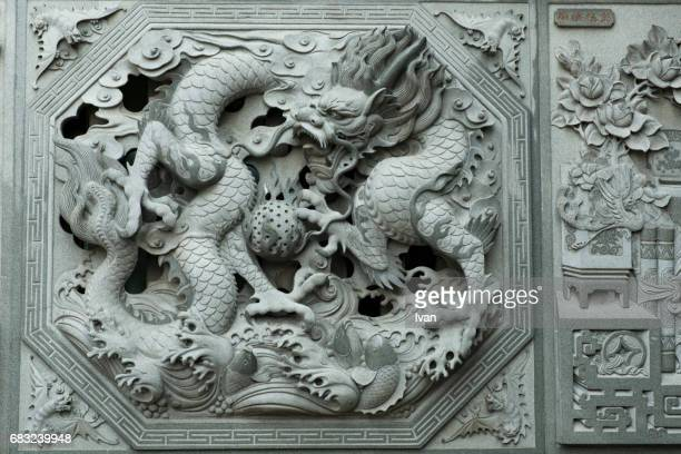 Detail of Chinese Dragon Statue with Sunlight