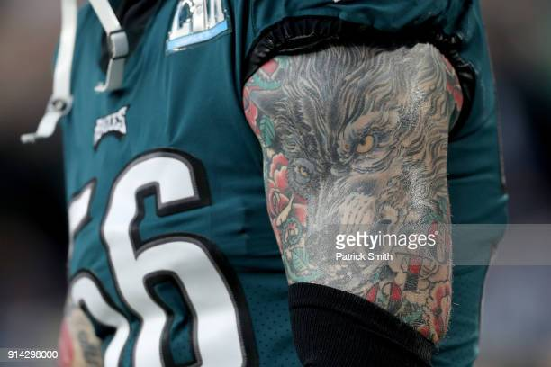 A detail of Chris Long of the Philadelphia Eagles tattoo prior to the Super Bowl LII against the New England Patriots at US Bank Stadium on February...