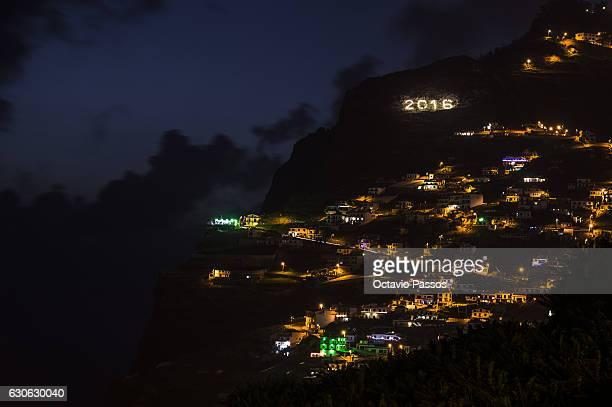 Detail of Christmas lights on the small fishing village of Câmara de Lobos on December 29, 2016 in Camara de Lobos, Madeira, Portugal.