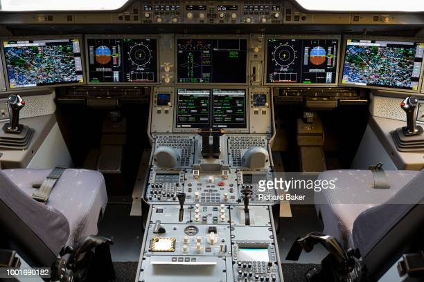 Detail of cockpit instruments in a Qatar Airways Airbus A3501000 at the Farnborough Airshow on 18th July 2018 in Farnborough England