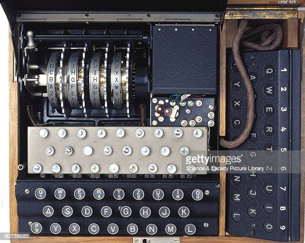 Detail of code wheels and lampboard A fourrotor German Enigma cypher machine with a second operator display made during World War II This type of...