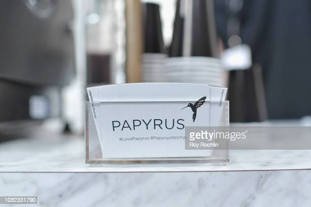 A detail of coffee sleeves at the Papyrus Cafe is Seen Around at New York Fashion Week The Shows at Spring Studios on September 12 2018 in New York...