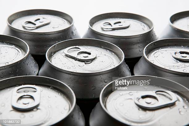 Detail of cold aluminum drink cans