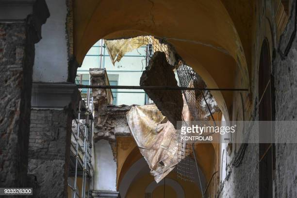A detail of collapsed wall inside the abandoned monastery of the church of San Giovanni Maggiore in downtown Naples The wall fell during renovations...
