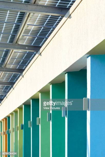 Detail of color coded facade perspective with photovoltaic canopy. Battersea Dogs & Cats Home, London, United Kingdom. Architect: Jonathan Clark...