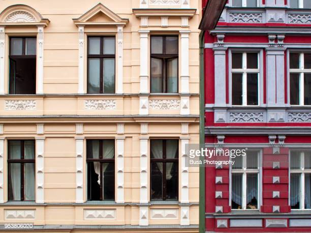 Detail of colorful facades of renovated historic residential buildings in Berlin, district of Kreuzberg. Berlin, Germany