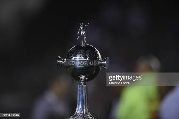 Detail of Copa Libertadores trophy after the second leg match between Lanus and Gremio as part of Copa Bridgestone Libertadores 2017 Final at Ciudad...