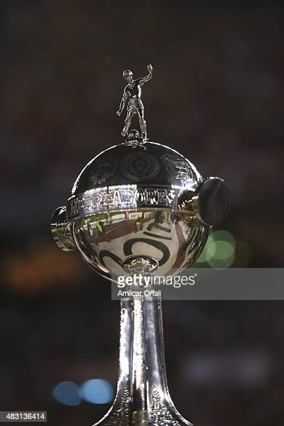 Detail of Copa Libertadores trophy during a second leg final match between River Plate and Tigres UANL as part of Copa Bridgestone Libertadores 2015...